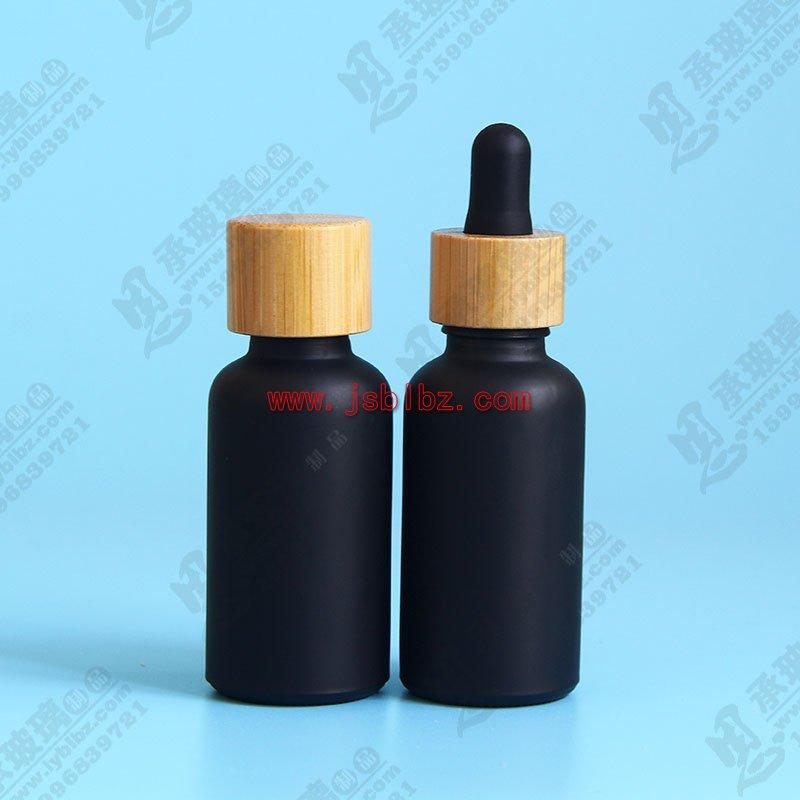 磨砂黑色玻璃滴管瓶包装