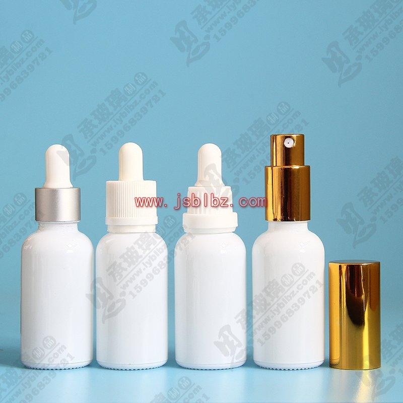 白瓷色光面玻璃瓶滴管瓶